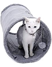 Speedy Pet Collapsible Cat Tunnel, Cat Toys Play Tunnel Durable Suede Hideaway Pet Crinkle Tunnel with Ball,12 inch Diameter S