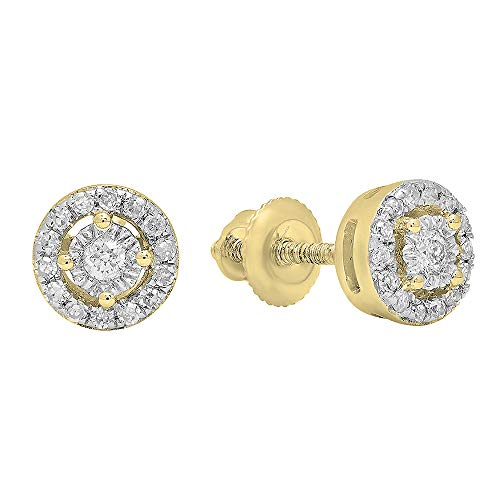 Dazzlingrock Collection 0.20 Carat (ctw) 10K Round White Diamond Ladies Cluster Halo Style Stud Earrings 1/5 CT, Yellow Gold