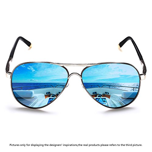 Rocknight Polarized Aviator Sunglasses for Men Women Metal Frame Flat Top Sunglasses Ultralight Golden-Blue Mirror Lens UV400 - Women Sunglasses For Pilot