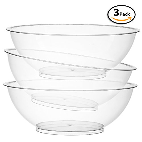 Set of 3 | 10-inch Vista Plastic Serving bowls, Salad and Snack Bowl, (Plastic Snack Bowl)