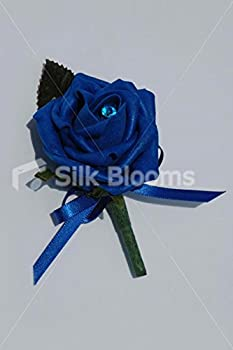 Simple Royal Blue Rose Buttonhole w/ Blue Bow & Crystal Pin