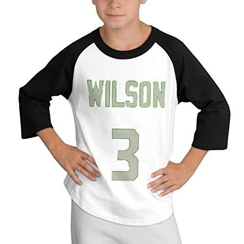 Teens Baseball Jersey Russell -Wilson-3 3/4 Sleeve Raglan Baseball T-Shirt Black