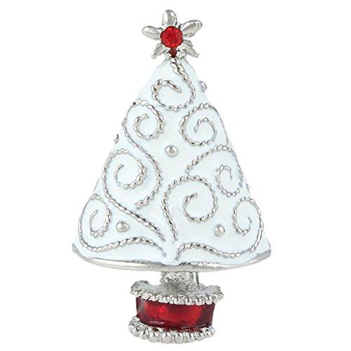 EVER FAITH Star Filigree White Wishing Tree Brooch Clear Austrian Crystal Enamel Silver-Tone