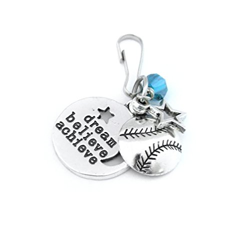 Softball Gifts, Softball Zipper Pull, Softball Bag Tag, Gifts For Softball Player, Softball Party Favors, Softball Accessories, Keychain