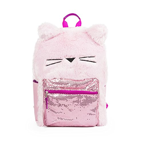 FAB Starpoint Fashion Pink Plush Cat Backpack with Pink Sequin Treatment School Bag for Girls -