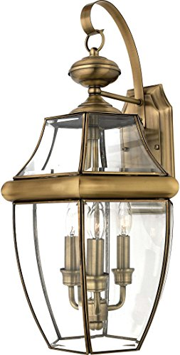Quoizel NY8318A  Newbury 3-Light Outdoor Lantern, Antique - Store Online Tiffany