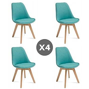 21316abb7 - Juego de 4 sillas Estilo escandinavo Hugo - Azul Turquesa: Amazon.es:  Hogar
