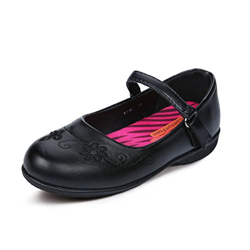 Hawkwell School Uniform Mary Jane Flat (Toddler/Little Kid),Black PU,9 M US (Little Girl Walking)