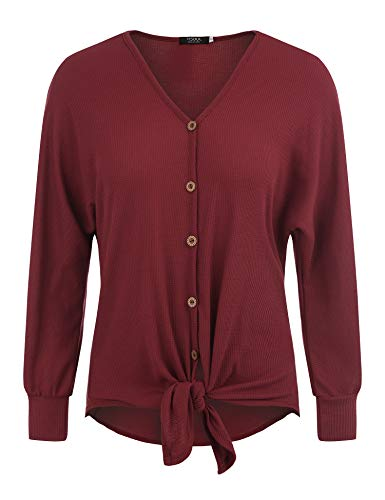 FISOUL Womens Blouse Long Sleeve V Neck Button Down T Shirts Tie Front Knot Casual Tops by FISOUL (Image #1)