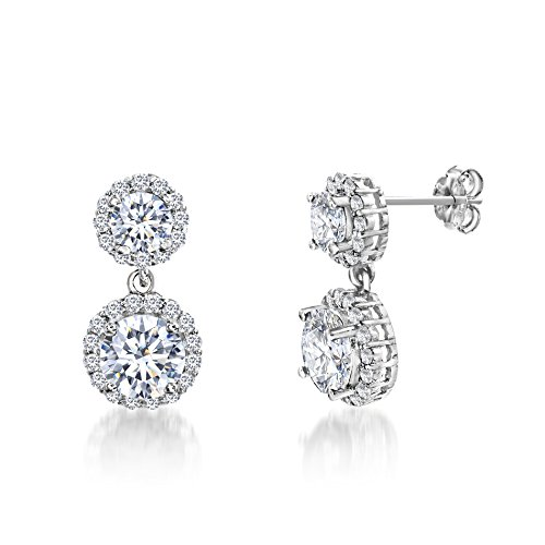 Mia Sarine Womens Rhodium Plated Silver Cubic zirconia Round Double Halo Dangle Earring