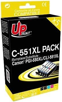 Canon PGI-550X L y CLI-551X L–Juego de 5Cartuchos de Marca Uprint para Canon PGI550X L CLI551X L Negro y Color