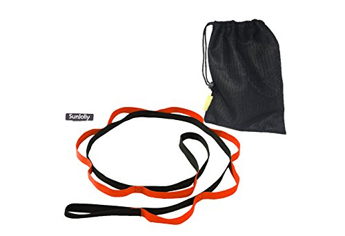SunJolly Yoga Stretch Strap with loops physical therapy Multi-Grip Pilates Stretching Belt -Workout Instruction & storage bag Included (Storage Therapy)