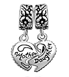 Pugster Heart Mother & Daughter Beads Fit Pandorai Charm Bracelet For Mom image