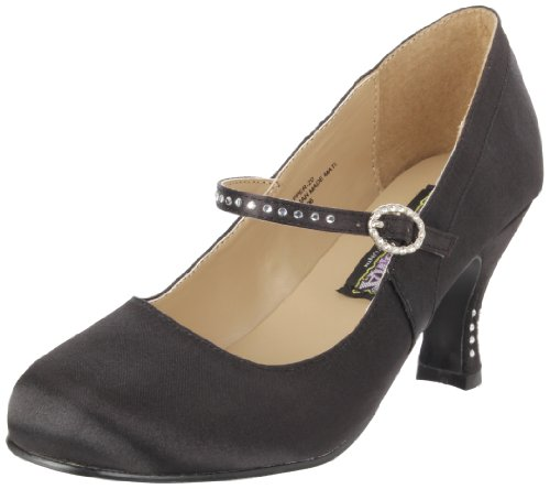 Flapper Jane (Funtasma by Pleaser Women's Flapper Mary Jane Pump,Black Satin,12 M US)