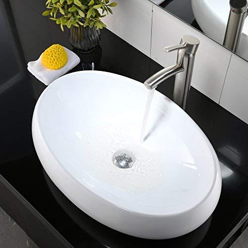 Comllen Above Counter White Porcelain Ceramic Bathroom Vessel Sink Art (White Porcelain Ceramic)