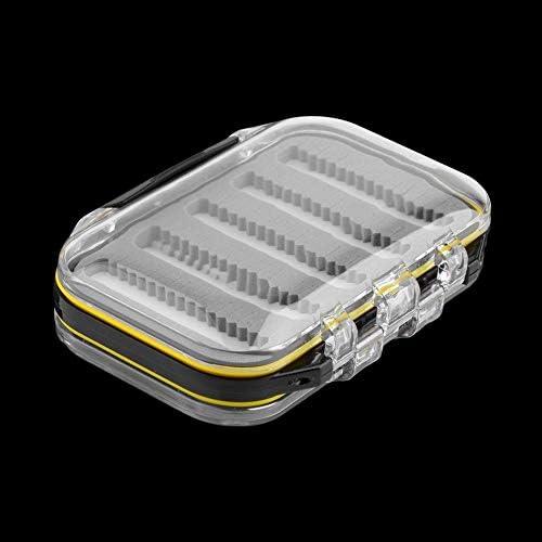 Black JIUY Kunststoff und Schaum 4.3 x 2.75 x1.2 Kunststoff wasserdicht Fliegenfischen Double Side Klar Slit Foam Fliegenfischen Box Fly Box-Ger/ät-Kasten-Kasten