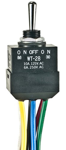 WT28L, Switch Toggle (ON) Off (ON) DPDT Round Lever Wire Lead 10A 250VAC 30VDC Panel Mount with Threads by NKK Switches