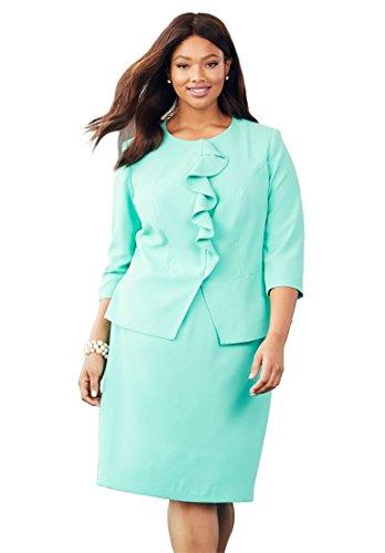 (Jessica London Women's Plus Size Ruffle Skirt Set - Pretty Jade, 24 W)