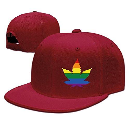 Unisex LGBT Gay marihuana Weed Leaf Snapback Flat Cap Peak Fit Hat Red