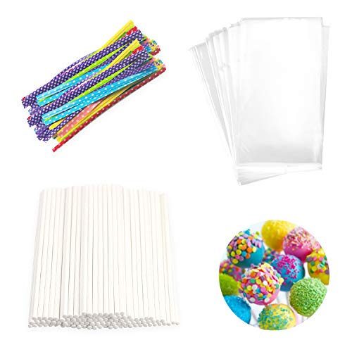 Lollipop Cake Pop Treat Bag Set Including 100pcs Parcel Bags, 100pcs Papery Treat Sticks, 100pcs Colorful Metallic Twist Ties for Making Lollipops, Cake Pops, Candies, Chocolates and -