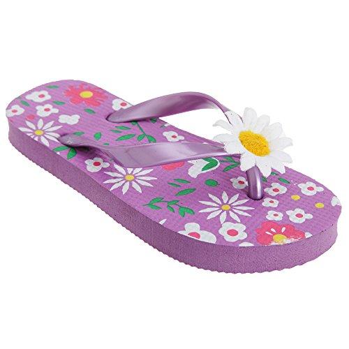 FLOSO - Sandalias / chanclas con diseño floral con margarita 3D para niñas Rosa