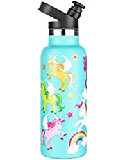 Water Bottle for Kids - Available in Llama and Unicorn - Insulated Stainless Steel 550ml Water Bottle with Finger Ring - Water Bottle for Sport and Play