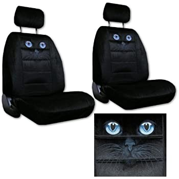 Seat Cover Connection Blue Cat Eyes Print 2 Low Back Bucket Car Truck SUV Covers