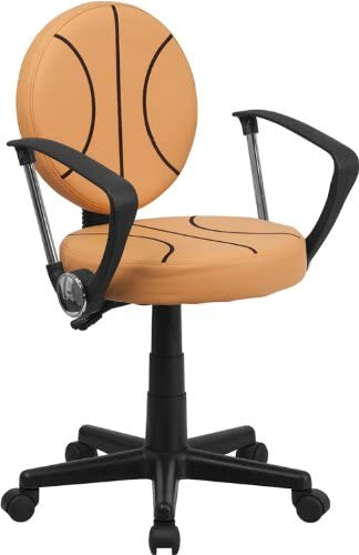 Flash Furniture Basketball Swivel Task Office Chair with Arms, BT-6178-BASKET-A-GG, Black and Orange