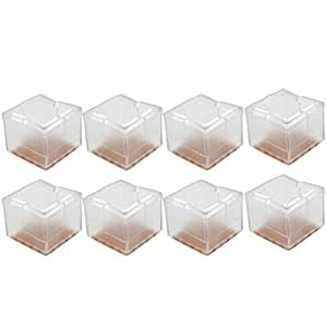 ULTNICE Chair Leg Caps Square Silicone Furniture Table Covers Wood Floor Protectors - 32pcs (Transparent)