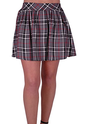 EyeCatch - Jupe mini courte stretch motif tartan - Imogen - Femme Gris Rouge