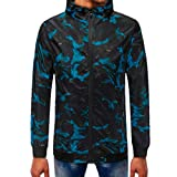 baskuwish Jacket Men's Tee Shirts Summer Camouflage Print Suntan-Proof Pullover Hooded T-Shirt Top Blouse (XL, Blue)