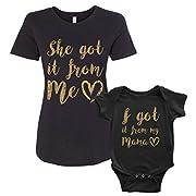Threadrock I Got It From My Mama Infant Bodysuit & Women's T-Shirt Matching Set (Baby: 6M, Black|Women's: L, Black)