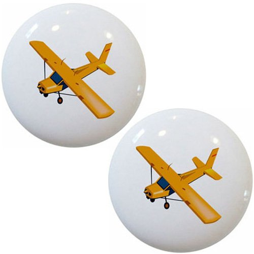 (Yellow Airplane Aviation Ceramic Cabinet Drawer Pulls Knobs (Set of 2 Knobs))
