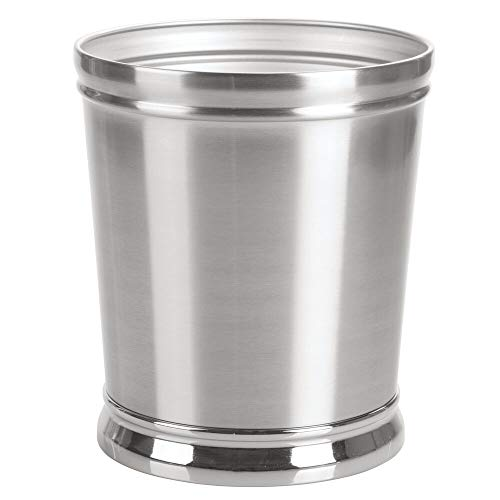 mDesign Decorative Metal Round Small Trash Can Wastebasket, Garbage Container Bin - for Bathrooms, Powder Rooms, Kitchens, Home Offices - Durable Solid Steel, Non-Slip Base - Brushed/Chrome (Bathroom Wastebasket)