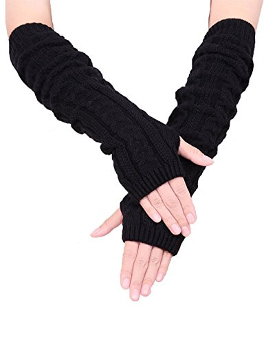 Colorful House Fingerless Thumb Hole Long Gloves Mittens Winter Arm Warmer (19 Inch, Black (New Pack))
