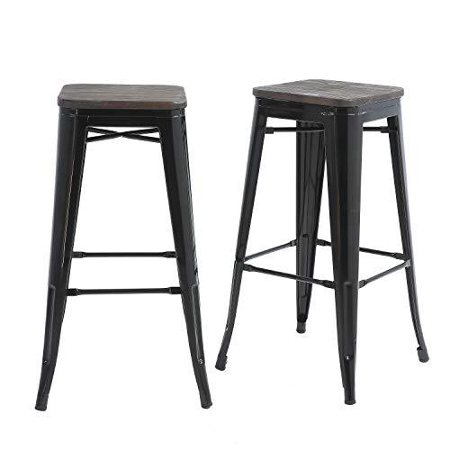 Buschman Set of 2 Black 30 Inch Bar Height Metal Bar Stools review