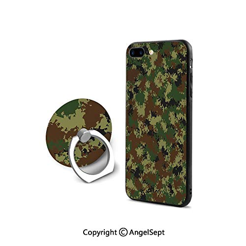 iPhone 7/8 Case with 360°Degree Swivel Ring,Grunge Graphic Camouflage Summer Theme Armed Forces Uniform Inspired Dark,for Girls,Green Pale Green - Uniforms Forces Armed