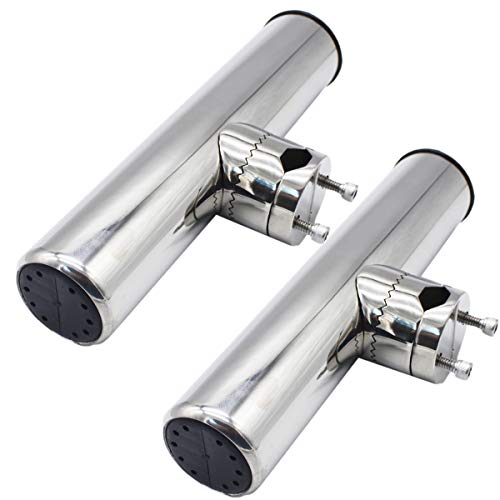 X-Haibei 2pcs Clamp on Fishing Rod Holder Marine Rail Mount Rod Holder for Boat Stainless Steel Clamp Fittings Rail 7 8 to 1