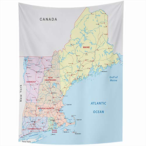 Ahawoso Tapestry Wall Hanging 60x90 America State New England Road Map Hampshire Massachusetts Boston Canada Vermont Connecticut Design Home Decor Tapestries Decorative Bedroom Living Room Dorm ()