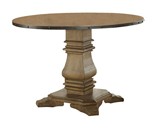 "Homelegance Veltry 45"" Round Dining Table with Pedestal Leg and Metal Nail Head Accent Banding, Rustic Oak"