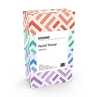 Amazon Brand - Solimo Facial Tissues (4 Flat Boxes), 160 Tissues per Box (640 Tissues Total)