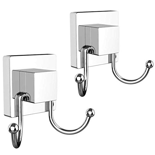 (HOME SO Double Hooks with Suction Cup Holder, Prisma Collection - Removable Shower & Kitchen Hooks Hanger for Towel, Bath Robe, Coat, Loofah (2-Pack))