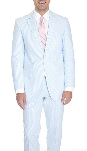 Emigre Blue Striped Two Button Cotton Seersucker Suit-50-Regular-50R (Blue Seersucker)