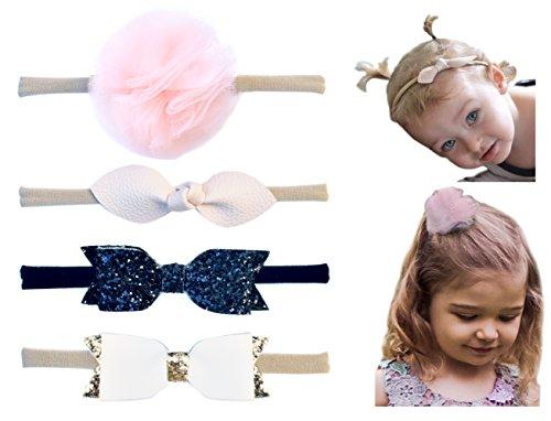 California Tot Soft & Stretchy Headbands for Baby, Toddler, Girls, Mixed Set of 4 (Ballet Princess) - Princess Ponytail Tutu
