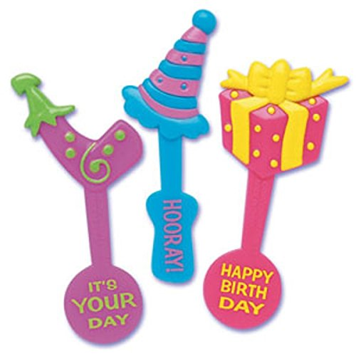 (Oasis Supply Decorating Happy Birthday Message Cupcake/Cake Picks, 3-Inch, Assorted Colors, Set of)