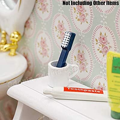 Odoria 1:12 Miniature Toothbrush Toothpaste Rinse Cup Set Dollhouse Bathroom Accessories: Toys & Games