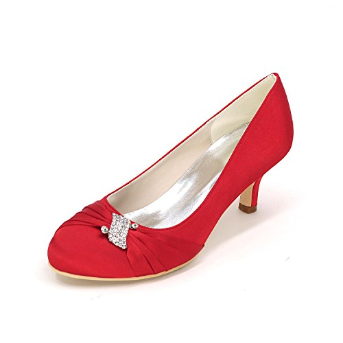 Women's Fall Wedding Party L Silk Heels Wedges Spring amp; Round Toe Red Heels Evening YC party Wedding RqW5f