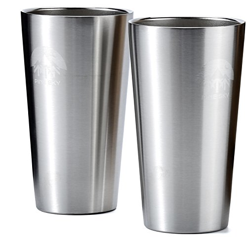 Stainless Steel True Pint Cup by Pine Sky, 16 oz Vacuum Insulated, Stackable Tumbler - Set of 2 (Pint Cup Glass 16 Oz)