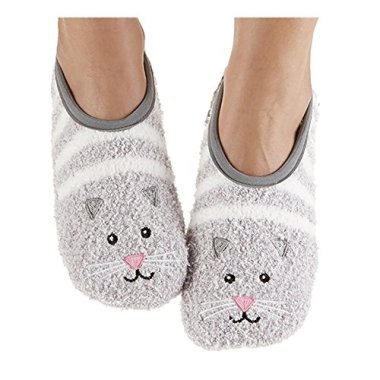 - Snoozies Womens Fuzzy Animal Mary Jane Cat Socks