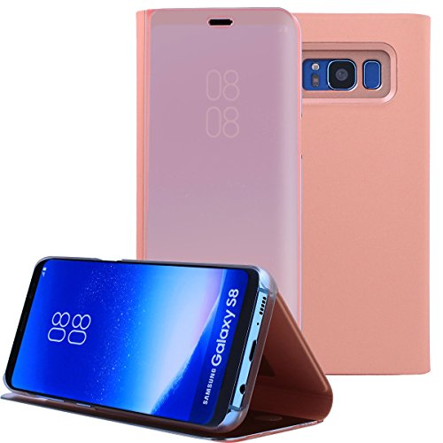 Galaxy S8 Case, AICase Luxury Translucent View Window Sleep/Wake Up Function Cover Mirror Screen Flip Electroplate Plating Stand Full Body Protective Case for Samsung Galaxy S8(Rose Gold)